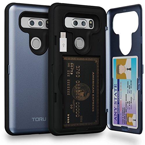 TORU CX PRO LG V30 Wallet Case Blue with Hidden ID Slot Credit Card Holder Hard Cover, Mirror & USB Adapter for LG V30 / LG V30 Plus - Orchid Gray