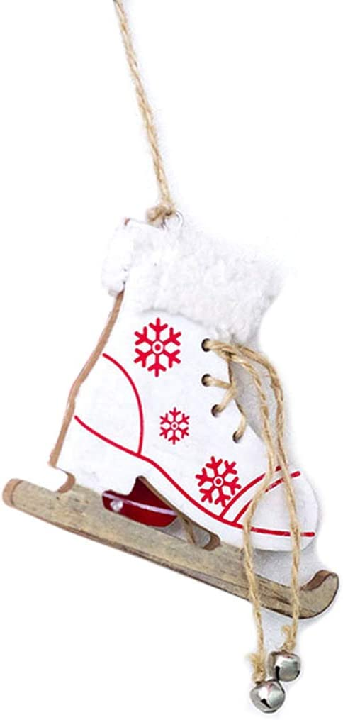 Huilier Christmas Wooden Ice Skates Shoes Hanging Ornament Pendant with  Bell Party Decor