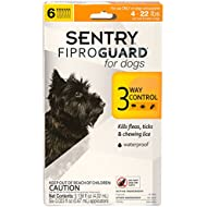 SENTRY Fiproguard Flea and Tick Topical for Dogs, 4-22 lbs, 6 Month Supply