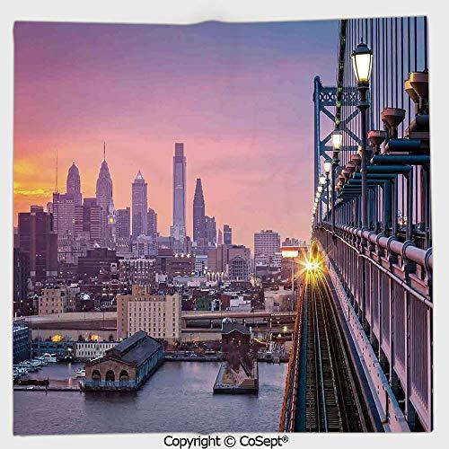 (AmaUncle Lightweight Square Towel,Philadelphia Under a Hazy Sunset Train on Bridge Skyscrapers Landscape,for Adults Girls Boys Women Men(13.77x13.77 inch),Purple Blue)