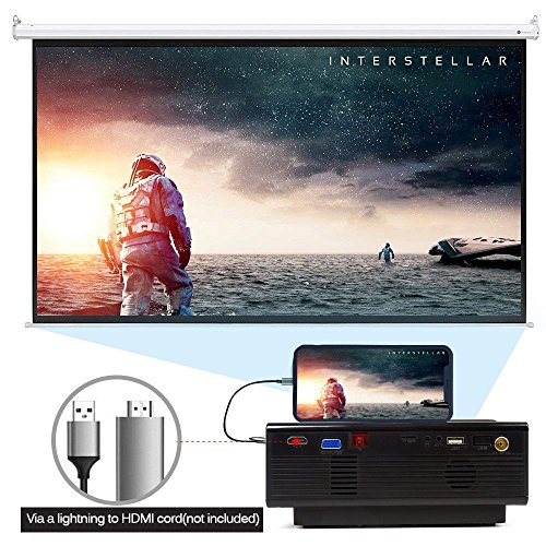 1080P Mini Projector for Watching World Cup, Led Projector, Amgaze Video Projector, Home Theater Cinema with HDMI AV VGA USB SD for PC Laptop iPad Smartphone (Black) by Amgaze (Image #5)