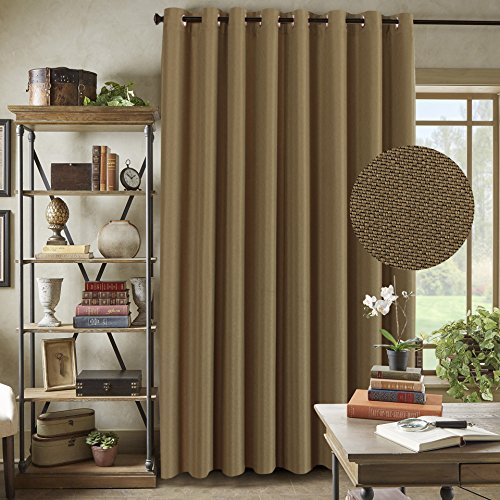 H.Versailtex Primitive Linen Look Room Darkening Thermal Insulated Living Room / Patio Door Curtains,Antique Grommet Window Drapes,100 by 84 Inch - Prairie Sand (1 Panel) (Patio Door Single)