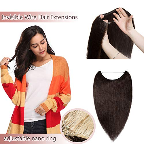 Hidden Invisible Crown Human Hair Extensions Flip On One Piece Secret Miracle Wire In Hairpiece With Transparent Fish Line Headband No Clips No Tape For Women #2 Dark Brown 20'' - Top Transparent Flip