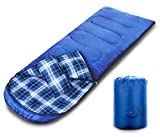 sleeping bag - Gwei Flannel Sleeping Bags - More Comfort - ECO Friendly Materials - Water Resistant & Machine Washable - 30℉ Available - Perfect for Camping,Hiking - Comes with a complimentary Gift (Blue)