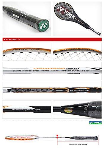 Yonex NANORAY 20 NEW Badminton Racket 2017 Racquet Silver/Orange 3U/G4 Pre-strung with a Half-length Cover (NR20-Silver/Orange) by Yonex (Image #3)