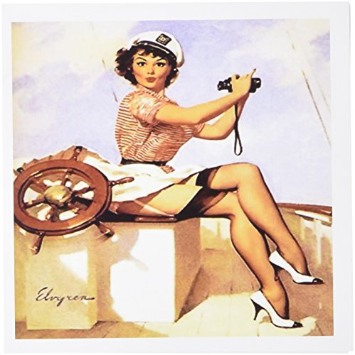 Price comparison product image 3dRose image of famous elvgren pinup painting girl with binoculars - Greeting Cards, 6 x 6 inches, set of 6 (gc_179580_1)
