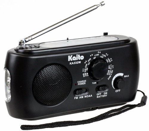 Kaito KA332W Portable Hand Crank Solar AM/FM NOAA Weather Radio with Cell Phone Charger & 3-LED Flashlight (Black) (Wind Charger Phone)