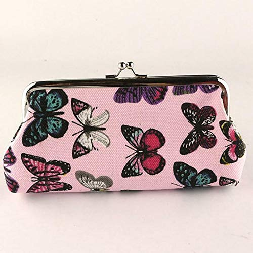 Womens Butterfly Small Wallet Card Holder Coin Purse Clutch Handbag Bag (Color - Pink + Canvas)
