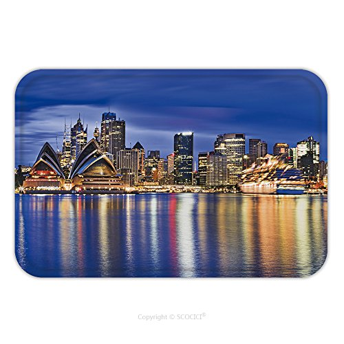 Flannel Microfiber Non-slip Rubber Backing Soft Absorbent Doormat Mat Rug Carpet Sydney City Cbd Landmarks Across Harbour Around Business Towers Of Circular Quay And International 523329553 for Indoor