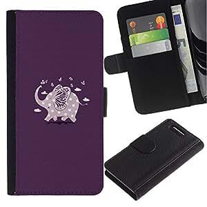 Billetera de Cuero Caso Titular de la tarjeta Carcasa Funda para Sony Xperia Z1 Compact D5503 / Purple Elephant Polka Dot Pattern / STRONG