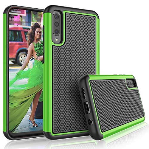 Mobile Phone Case Cover - Galaxy A50 Case, 2019 Galaxy A50 Cute Case, Tekcoo [Tmajor] Shock Absorbing Rubber Silicone & Plastic Scratch Resistant Bumper Grip Sturdy Hard Phone Cases Cover for Samsung Galaxy A50 [Green]