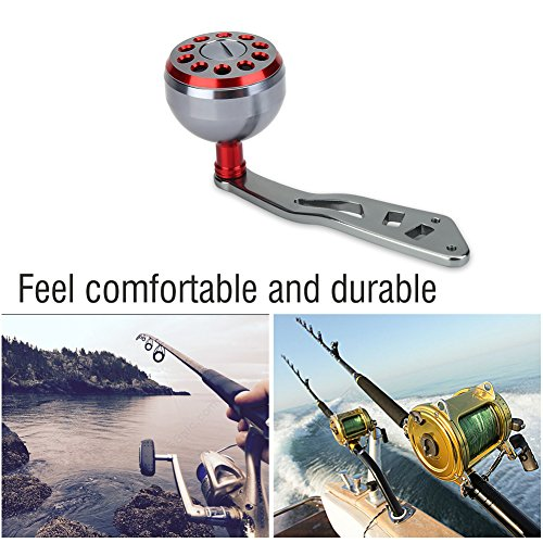 Reel Replacement Power Handle knob handle grips Part - Metal Fishing Spinning Reel Handle Grip for Abu Round Baitcast (Red) ()