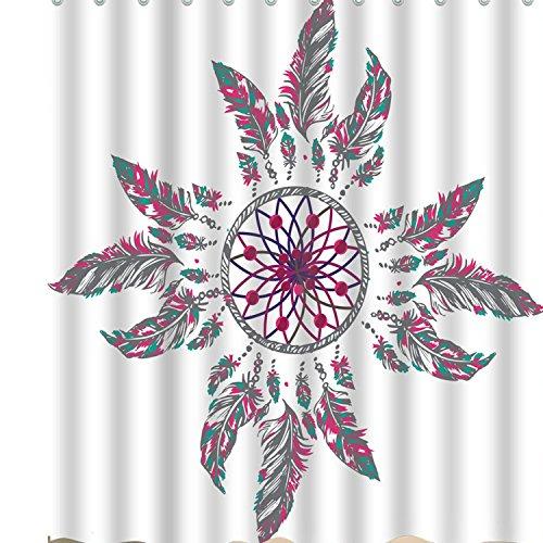 BROSHAN Ethnic Tribal Shower Curtain FabricIndian Native American Elegant Dream Catcher Feather Standard Art Print Bathroom Decor Waterproof Fabric Bath