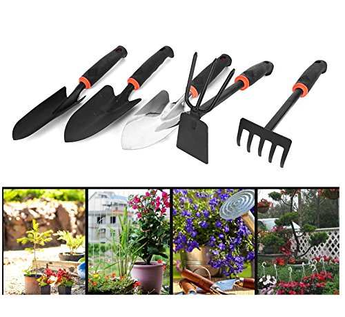 Gardening Hand Tools Set Small Digging Shovel Garden Cultivator Hoe Rake Transplanter with with Anti-slip Handle for Digging Planting kids women (Pack of 5)