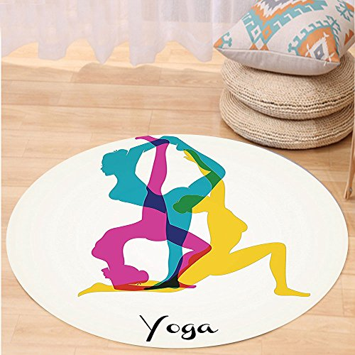 VROSELV Custom carpetYoga Decor Different Yoga Poses Energetic Female in Motion Pilates Human Health Wellbeing Design Bedroom Living Room Dorm Decor Pink Yellow Teal Round 79 inches by VROSELV (Image #6)