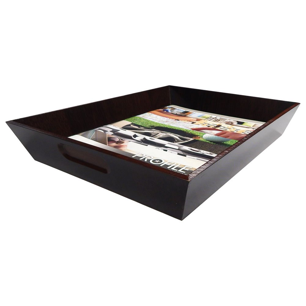 Stockton Wood Letter Size Paper Tray Organizer for Office Desk