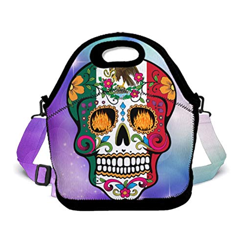 POP MKYTH Halloween Mexico Flag Sugar Skull Insulated Lunch Box Lunch Tote Bag School Backpack with 3D Adjustable Shoulder Strap for Women Men Girls Boys Kids -