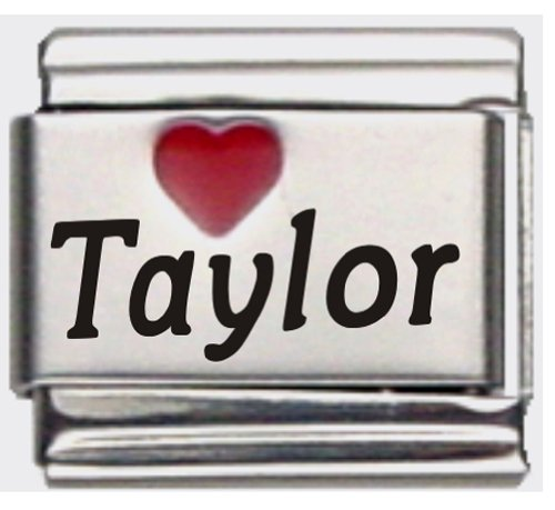 Taylor Red Heart Laser Name Italian Charm Link