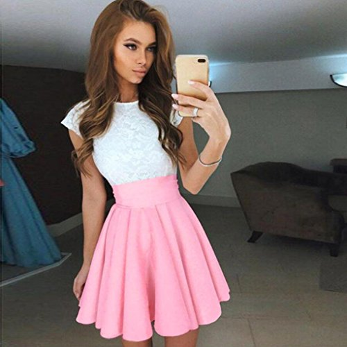 Sleeve Skater Anglewolf Cocktail Party Dress Womens Lace Ladies Mini Pink Summer Dresses Short XqOnEEwt