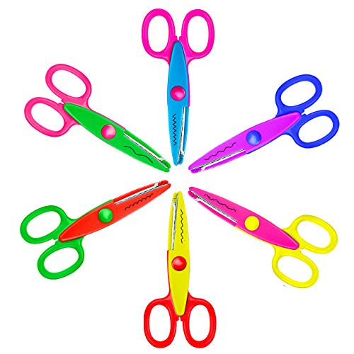 E-More Safe Paper Decorative Edging Scissors Scrapbooking Edger Scissors Art Creative Crafts Scissors Wave Edge Cutters Great Teachers Students Kids Design (6 Pack)