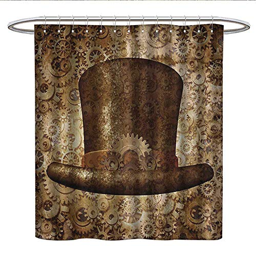 Anshesix Victorian Decor CollectionUnique Shower curtainSteampunk Top Hat as a Science Fiction Concept Made of Metal Copper Gears and Cogs Imagecute Shower curtainGold