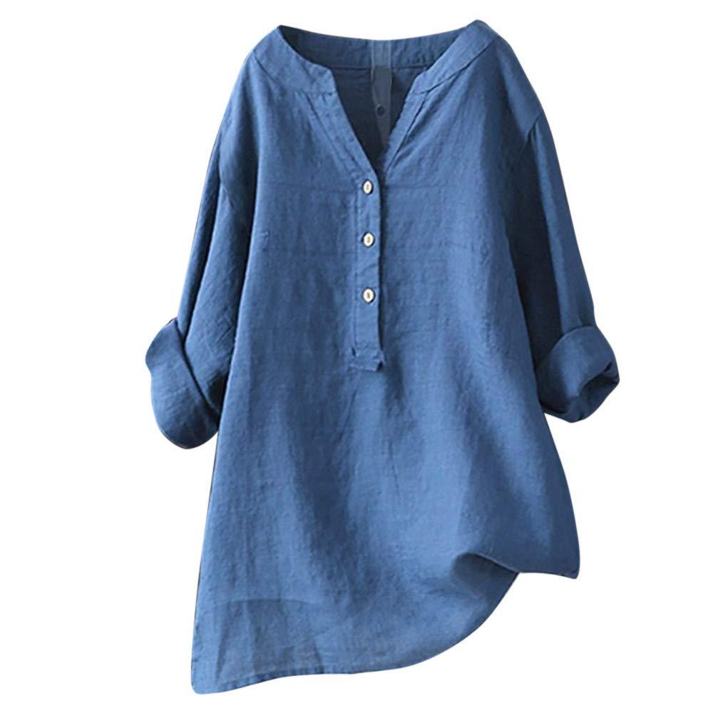 Women's Long Sve V Neck Button Shirt Tops Long Blouse Tee Casual Henley Shirt Loose Swing Tunic T-Shirt Blue by NIKAIRALEY T-Shirt