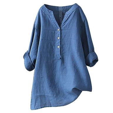 Sale Shirt for Women Plus Size Cotton Blouse Autumn Long Sleeve Work Tops  Casual T- 2e808cd2103e