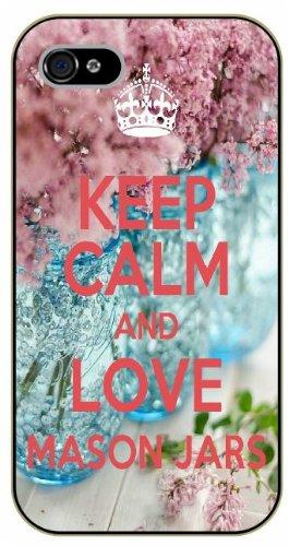 iPhone 5C Keep calm and love Mason Jars - black plastic case / Keep calm