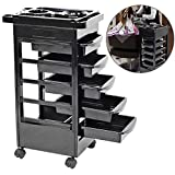 Salon Tray Trolley, 5 Drawers Multi-function SPA Beauty Makeup Hairdressing Tray Drawer Rolling Cart Storage Organizer Hair Dryer Service Trolley with Castors Black (#1)