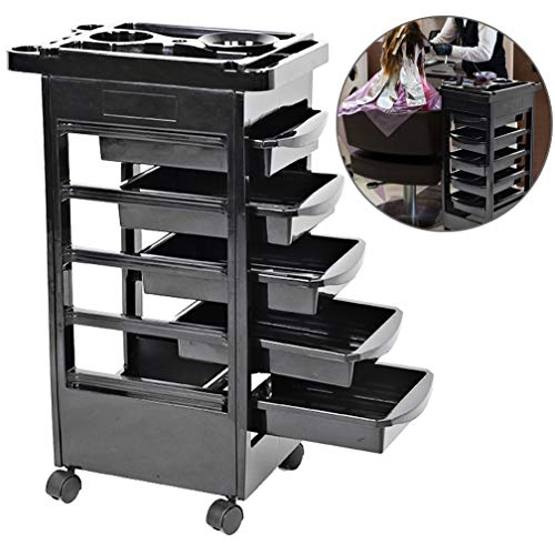 Hair Salon Instrument Storage Cart Rolling Trolley Equipment Rolling Storage Adjustable Height Trolley Beauty Tools with 5 Drawers for Tool Storage Beauty Salon Spa Styling Station (82cm/32inch)