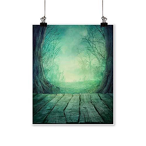Home Decor Spooky Scary Dark Fog Dead TRE Wooden Table Halloween Horror Blue Art Wall Art for Room,28