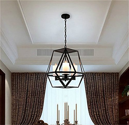 Ladiqi Industrial Pendant Light Vintage Wrought Iron Cage Chandelier Lights Fixture