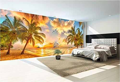 LWCX Custom Mural Photo 3D Room Wallpaper Seaside Sunset Coconut Trees Home Decor Painting 3D Wall murals Wallpaper for Walls 3D 150X105CM