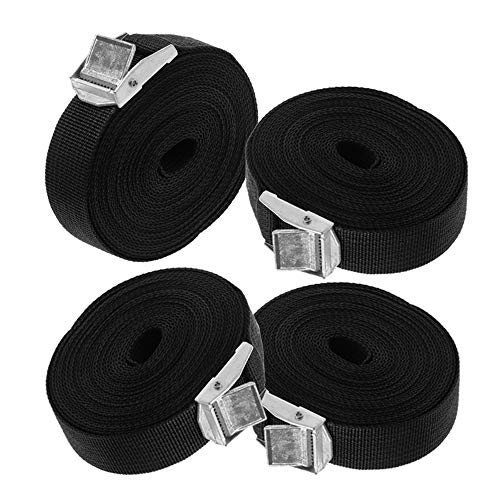4 Pcs Lashing Strap, Heavy Duty 5 Meters Tie Down Straps with Padded Cam Lock Buckle for Cargo Kayaks Carriers Moving Canoes Luggage Roof Rack Mount, Black