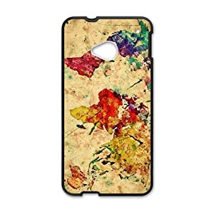 Watercolor world map Cell Phone Case for HTC One M7