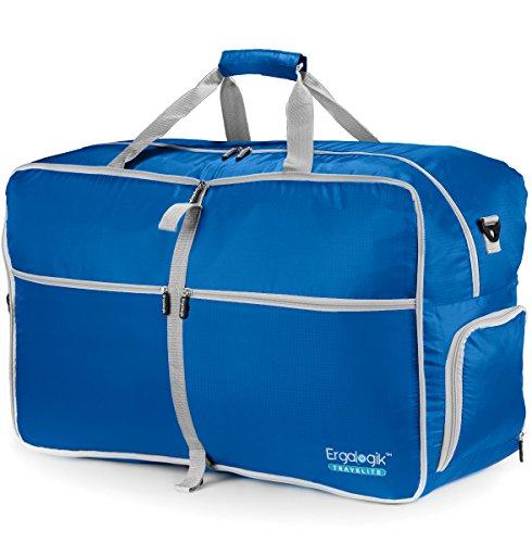 ErgaLogik TraveLite Large 80L Foldable Travel Duffel Bag For Men & Women - Water Resistant - Foldable Travel Duffel Bag For Travel, Gym, Sports & Luggage (Large - 80L - Light Blue)