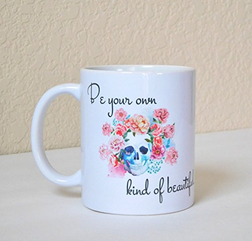 LIZNICE - Watercolor Skull and Flower Coffee Mug - Positive Body Image - Tattoo Inspired Mug - Be Your Own Kind of Beautiful - Gift for Teenager.