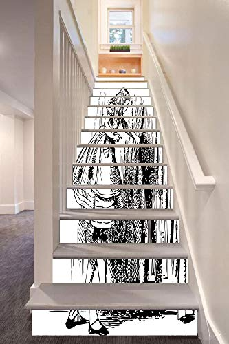 Alice in Wonderland 3D Stair Riser Stickers Removable Wall Murals Stickers,Black and White Alice Looking Through Curtains Hidden Door Adventure Decorative,for Home Decor 39.3