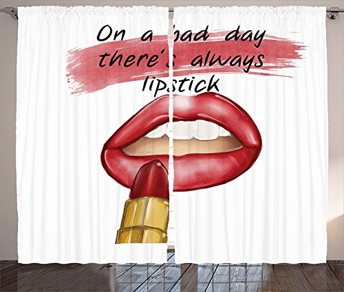 Fashion House Decor Curtains Bad Day Good Make Up Quote Cool Sensual Beauty Charm Desirable Art Print Living Room Bedroom Window Drapes 2 Panel Set Red (Big Bad Wolf Makeup)