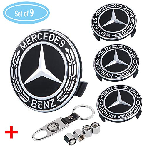 (Aswelly Set of 4 - Benz Wheel Center Caps Emblem, 75mm Benz Rim Hub Cover Logo + Set of 4 Tire Valve Covers Fit for Mercedes Benz All Models)