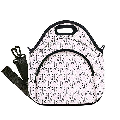 Insulated Lunch Bag,Neoprene Lunch Tote Bags,Eiffel,Polka Dot Pattern with Sketchy Eiffel Tower Figures and Romantic Hearts Decorative,Pale Pink Black White,for Adults and children