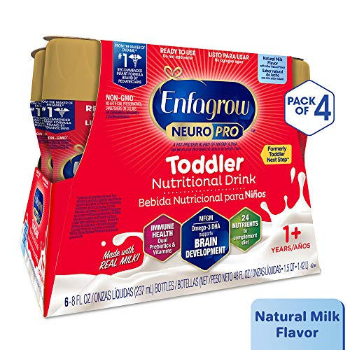 Enfagrow NeuroPro Next Step Toddler Ready to Feed Non-GMO Milk Drink - Natural Milk Flavor, 8 fl oz (24 count) - Omega 3 DHA, MFGM, Prebiotics, Iron, Vitamins (Packaging May Vary)