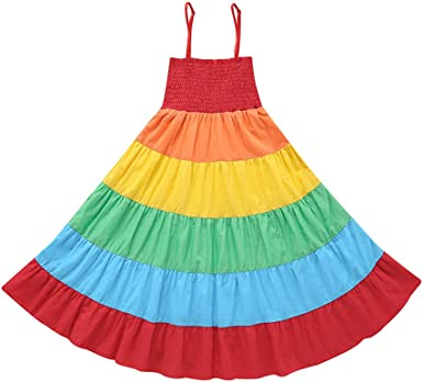 1-6Y Baby Kids Girls Sister Rainbow Striped Summer Dress Party Sundress Clothes