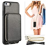 iPhone 6s Wallet Case, JLFCH iPhone 6 Wallet Zipper Case with Credit Card Slot Card Holder Crossbody Wrist Strap Purse Mini Handbag Back Cover Protective Case for iPhone 6/6S 4.7 inch - Black