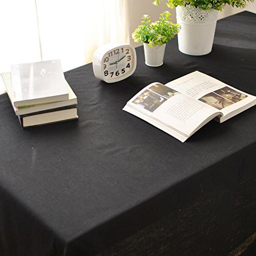 Polyester Large Dining, Party, Picnic, Black Tablecloth, Indoor & Outdoor, Rectangular