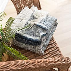Bedroom Cotton Knitted Fringed and Striped Throw Blanket with Tassels Cozy Blanket Scarf Shawl Farmhouse Decoration (Navy Blue) farmhouse blankets and throws