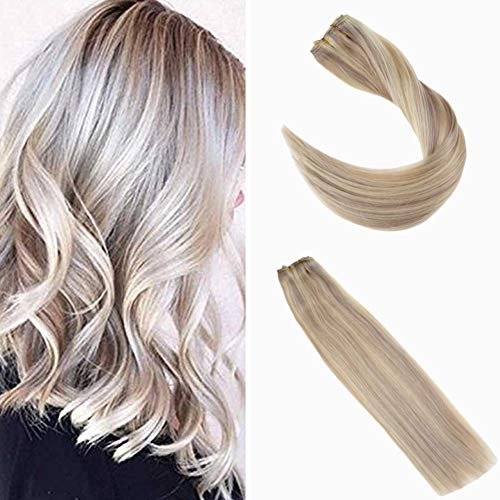 Ugeat 18inch 50Gram 100 Real Human Hair Highlight Hair Piece #18 Ash Blonde with #613 Bleach Blonde One Piece Clip in Human Hair Extensions with 5 Clips Natural Straight Hair
