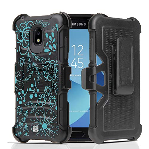 Outline Panel Blue (Galaxy J3 Achieve Case, J3 2018 (J337), J3 Prime 2/J3 Emerge 2018/J3 Eclipse 2/J3 Express Prime/Amp Prime 3/J3 Star Case, Hybrid Armor Black with Belt Clip Holster - Blue Outline)