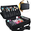 MLMSY Makeup Train Case 3 Layers Cosmetic Organizer Beauty Artist Storage Brush Holder Makeup Artist Art Organizer with Shoulder Strap, 16.5x5x12 inch (Black)