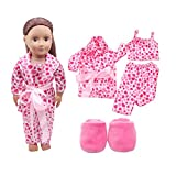 OSYARD 5pcs Clothes Shoes for 18inch American Girl Our Generation Dolls Pajamas Set (Pink)
